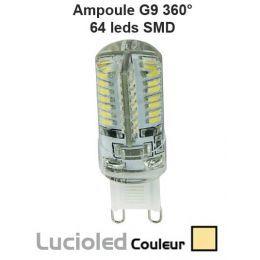 Mini ampoule led G9 360° 64 leds protégées Blanc chaud