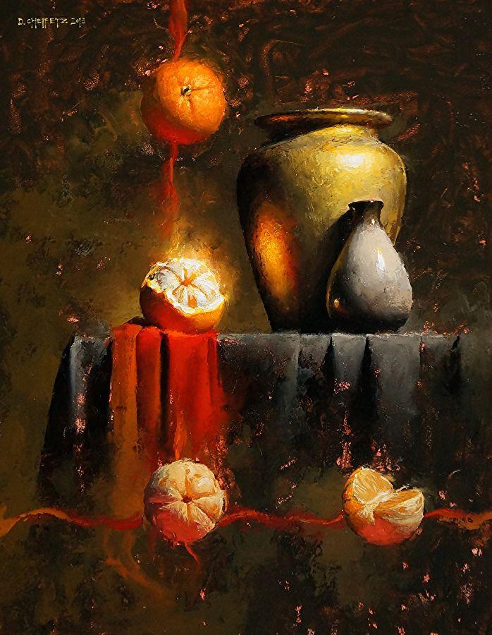 Moment Orange by David Cheifetz Oil ~ 14 x 11