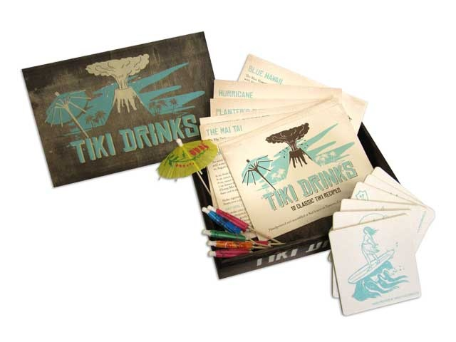 Tiki Drink Recipe Cards and Coaster Sets