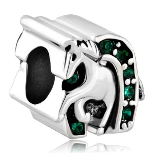 Emerald Green Swarovski Crystal Luck Horse Shoe Equestrian Bead Pandora Chamilia Compatible | Charmsstory.com #charms #pandora #luckycharms #equastrian #beads #horse #horseshoe