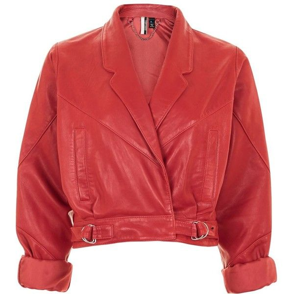 Topshop Cropped Leather Jacket ($225) ❤ liked on Polyvore featuring outerwear, jackets, pocket jacket, 80s jackets, cropped leather jacket, genuine leather jackets and red jacket
