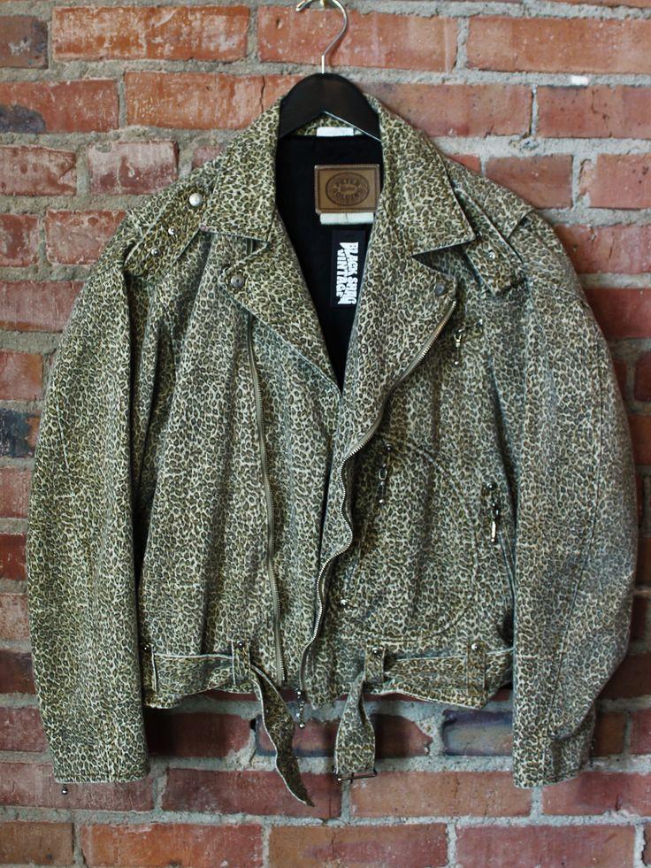 Vintage Leopard Print Peter Golding 80's Moto Denim Jacket