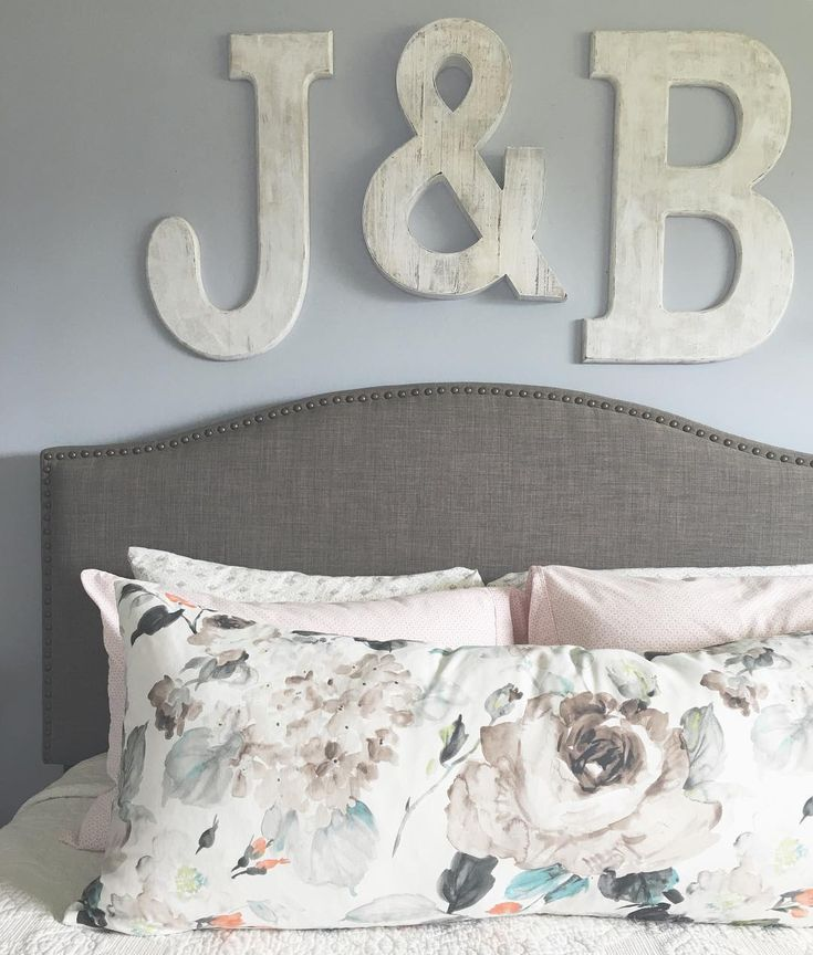 Master Bedroom initials over the bed. DIY letters from Hobby lobby painted shabby chic for a modern farmhouse feel. Interior design home décor Maxwell fabric pillow from PILLOWS BY DEZIGN