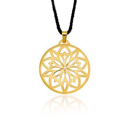 "Pendant Love Charm 2015 ""Centaurea"" large in yellow gold 18KT with diamond."