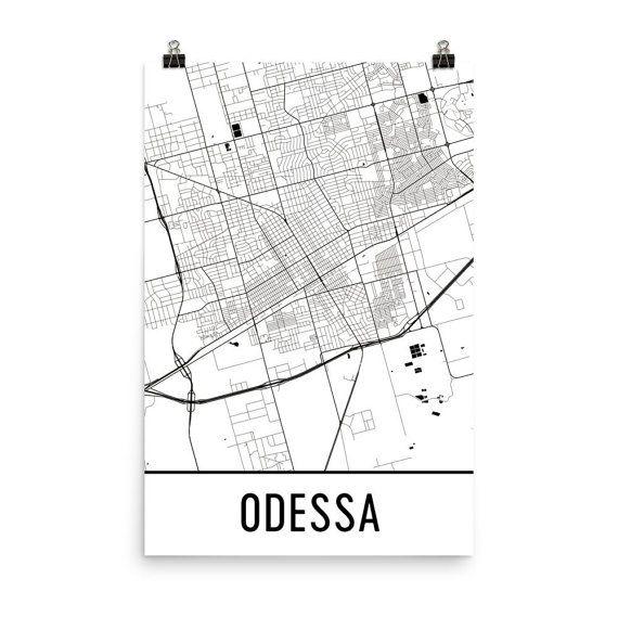 Odessa Map Art Print, Odessa TX Art Poster, Odessa Wall Art, Map of Odessa Texas, Odessa Print, Birthday, Modern, Odessa Art, Poster, Gift