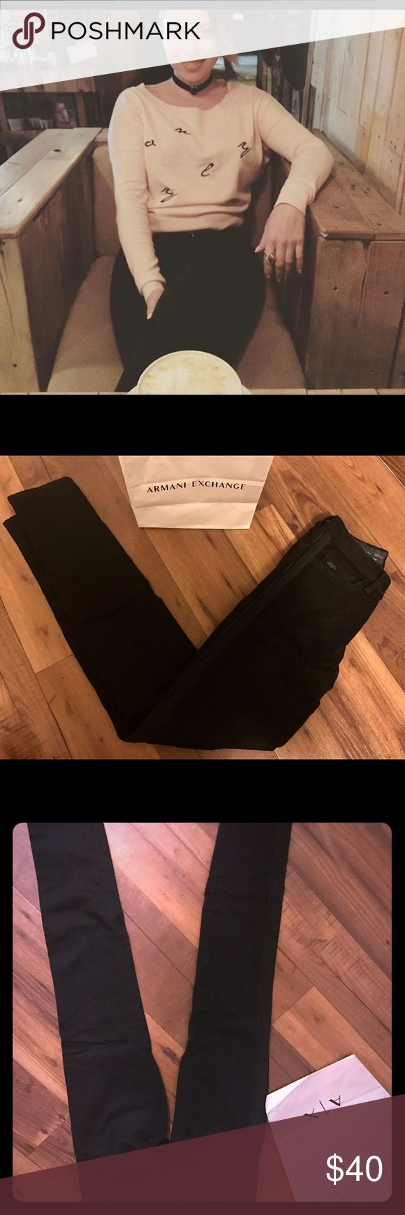 Armani Exchange Black Jeans Sz 24 Armani Blk Jeans Sz 24 •Unique Style with side leg details  •Skinny Jeans •Super style that adds great lift to your bottoms  •Worn twice, too small for me Armani Exchange Jeans Skinny