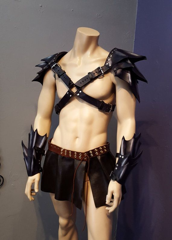 Mens Double Shoulder Pauldrons- Dragon Armor, Renaissance Fair, Costume, Medieval, LARP, Gladiator, Costume