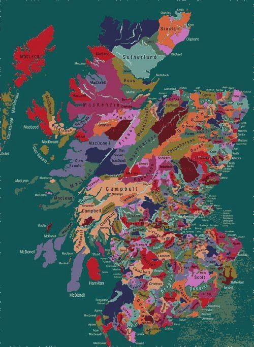 Scotland clans map | Love seeing the MacKenzie and Fraser clans! Outlander author, Diana Gabaldon, is a genius.