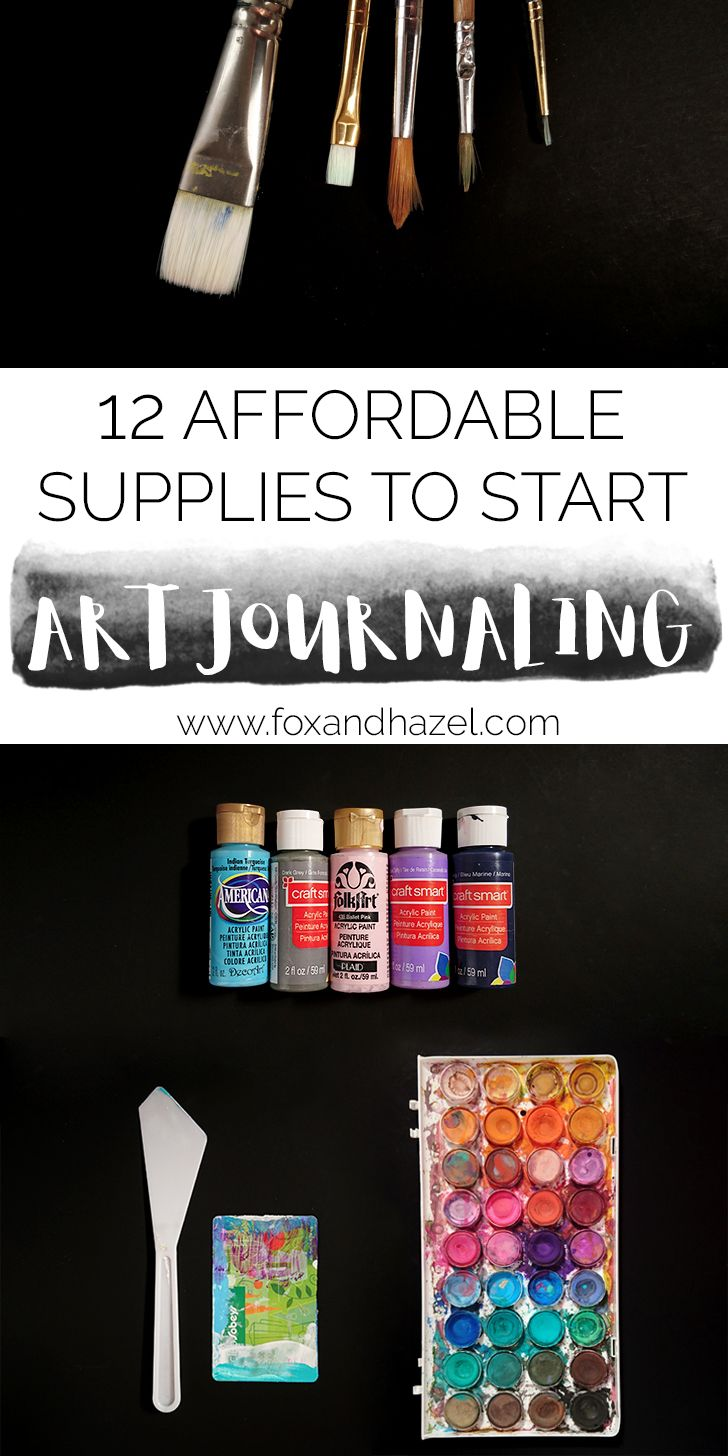 This list has 12 supplies you can use to get started art journaling!, These are the items I first used when I started, and most I still use every day in my pages.