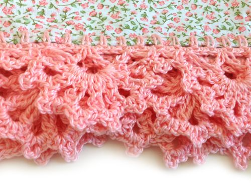 Beautiful crochet edging on tea towels.