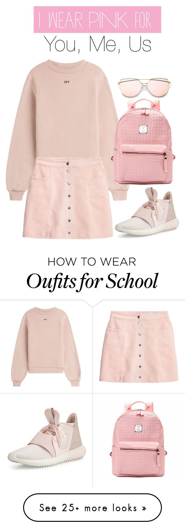 """""""Untitled #500"""" by victoriaam99 on Polyvore featuring Off-White, adidas, H&M and IWearPinkFor"""