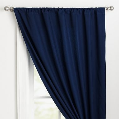 Navy blue curtains panels.