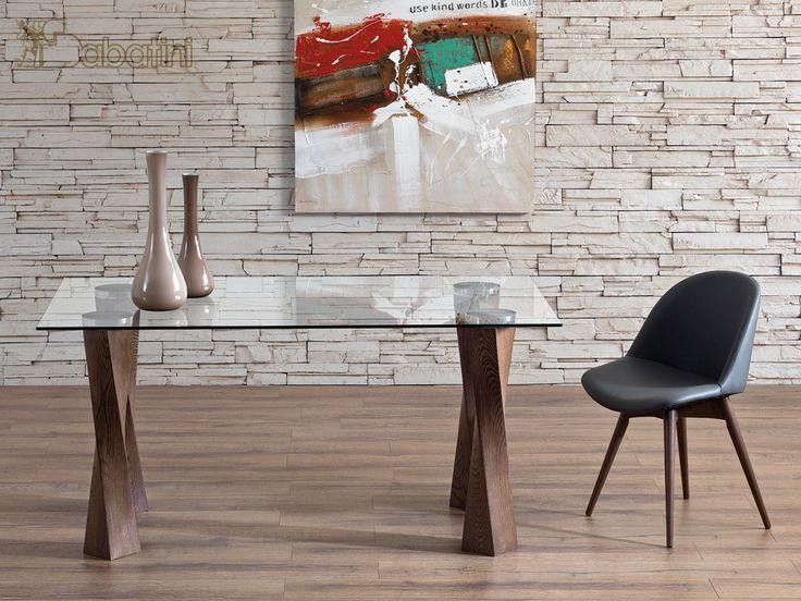 Tavolo fisso con piano in Cristallo e gambe in Frassino Art.5543 | Sedie e Tavoli