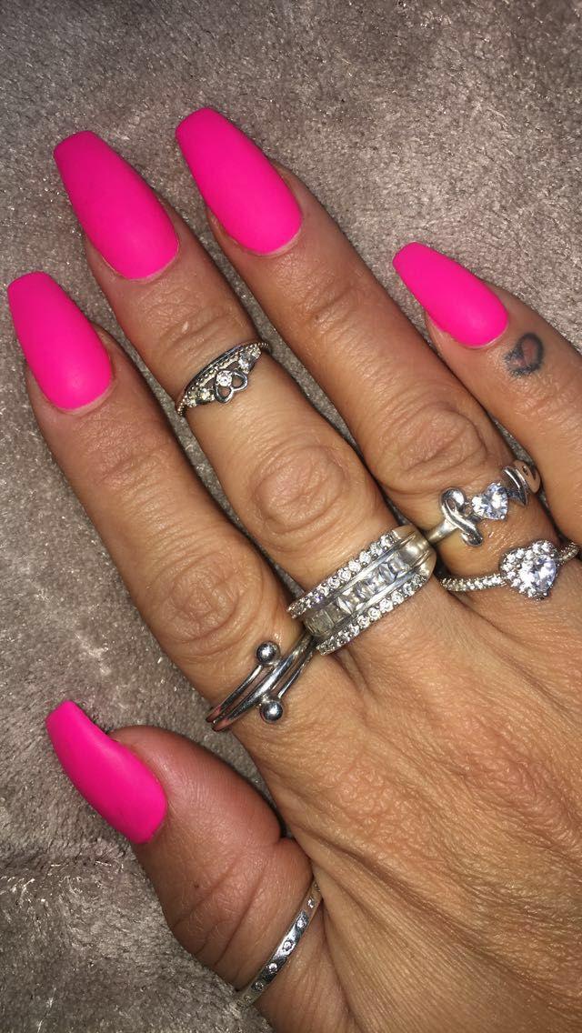 Coffin Shape Hot Pink Matte Nail Color Pink Nail Colors Matte Pink Nails Pink Gold Nails
