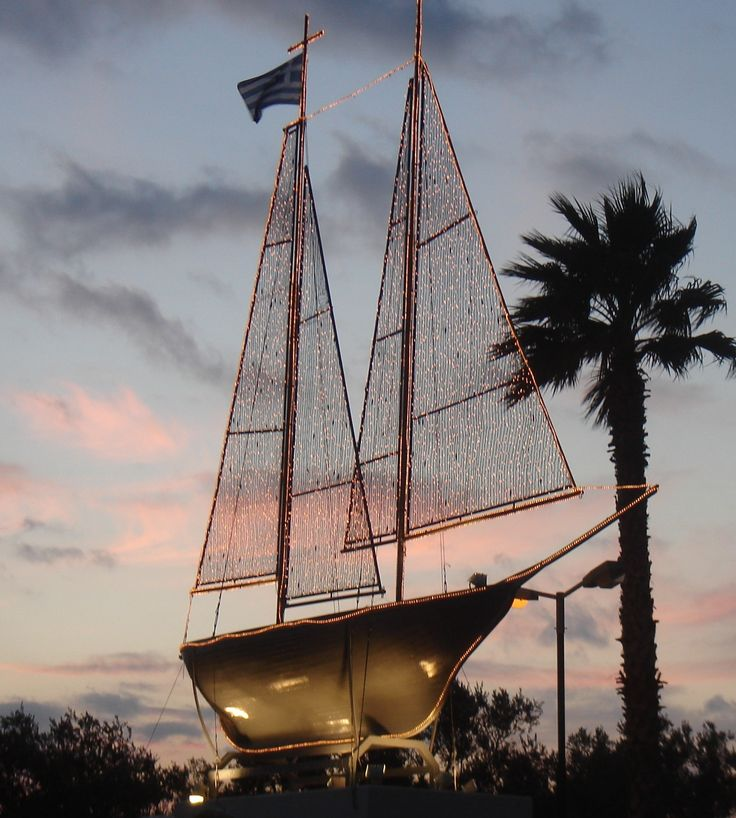 In Greece traditionally people decorate a boat for Christmas, in stead of a tree. The last years the Christmas boast became very popular again.