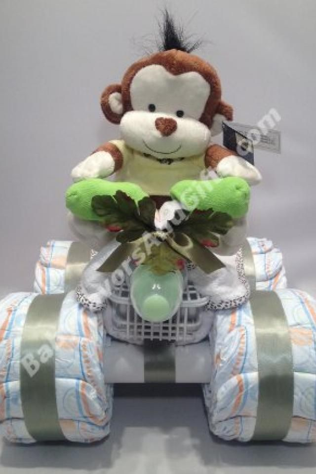 Very cute 4 wheeler diaper cake - perfect gift for a newborn or baby shower