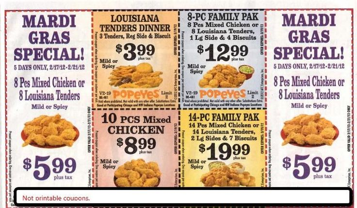 About Popeyes Popeyes Louisiana Kitchen - New Orleans Cajun Fried Chicken Restaurant Franchise. Save with printable coupons at your local Popeye's locations, and get great deals on .