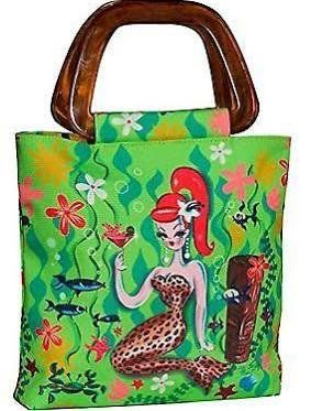 "Original design by Miss Fluff (Claudette Barjoud). Bag features tortoiseshell grab handles and contrasting tropical print lining. Bag measures 23cm x 26cm x 5cm plus handles (9"" x 10"" x 2"")"