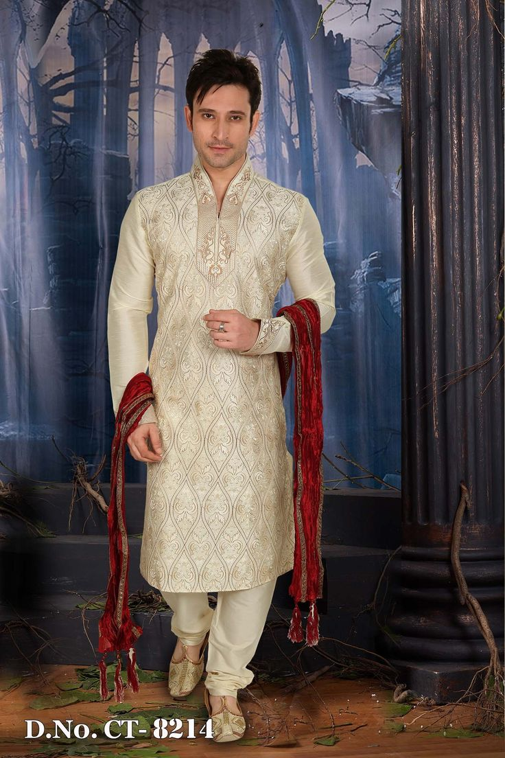 Cream Art Silk Readymade Kurta with Churidar  http://www.silk-india.com/en/82-kurta-pajama 65.99$  Now, place your Order now : Email:- raksha@silk-india.com