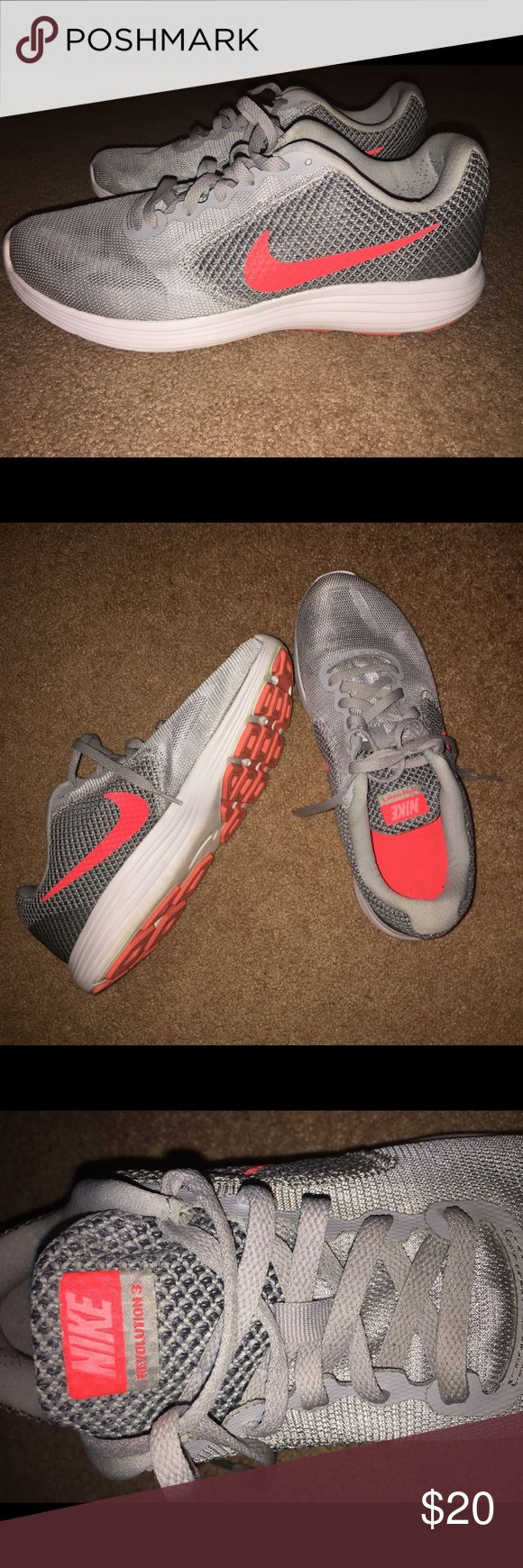 NIKE Revolution 3 Shoes Orange/Pink and Grey, Nike Revolution 3 Athletic Shoes. Great condition, barely worn. Fits true to size. Nike Shoes Athletic Shoes