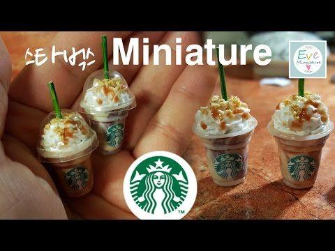 스타벅스 커피 ✔허니크런치카라멜프라푸치노 ✔미니어쳐 Starbucks coffee Frappuccino polymerclay miniature - YouTube