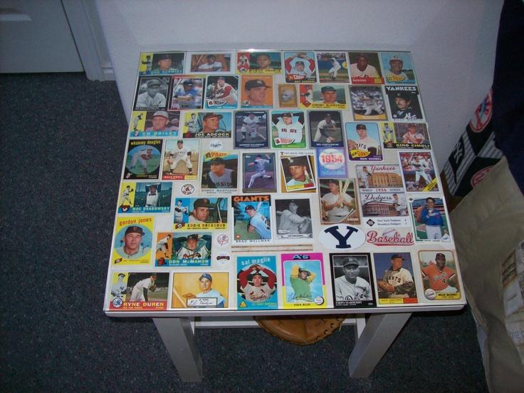 Turn a table into a Baseball Card Display....