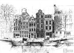 Architecture by the river. Drawing of boats. Rysunek architektury nad rzeką. Rysunek łodzi. www.kurs-rysunku.com.pl