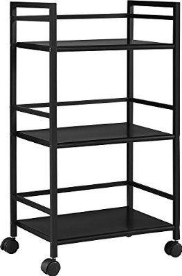 Altra Furniture 3-Shelf Metal Rolling Utility Cart or Industrial Table, Slick Black Finish