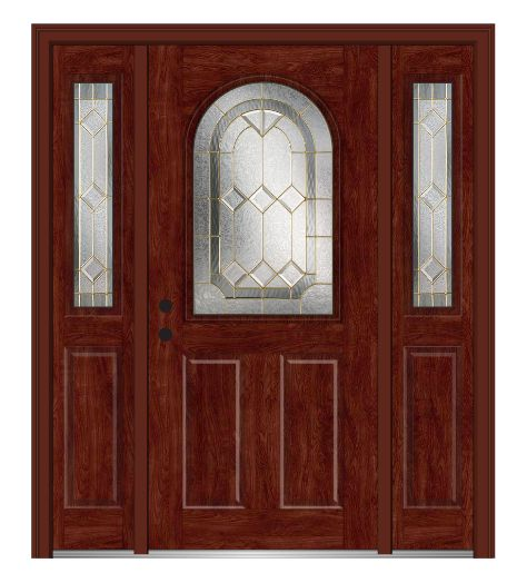 Shown is a 1/2 Lite Round Top 2-Panel Fiberglass Mahogany Entry Door with Sidelites Stained Windsor Cherry. Like what you see? Visit DoorBuy.com!