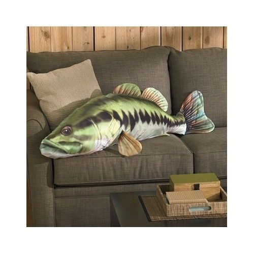 Giant Large Mouth Bass Pillow Fish Fishing Cabin Decor
