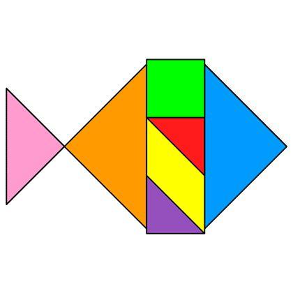 Tangram Moonfish - Tangram solution #66 - Providing teachers and pupils with tangram puzzle activities