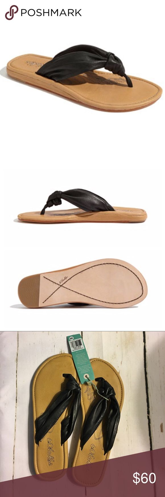 Puliki' Thong Sandal Supple leather & timeless sophistication meld to create this classic Puliki from OluKai.(poo-lee-kee) Translation: Hug. Premium full grain napa leather strap for extra supple & soft feel & Natural latex comfort footbed. Decorative footbed stitching inspired by the Hawaiian island chain. Hand-tied knotted toe post for a unique look. . Anatomical compression-molded EVA heel wedge. High quality leather dress outsole with natural rubber heel tap. Cable stitch detail & laser…