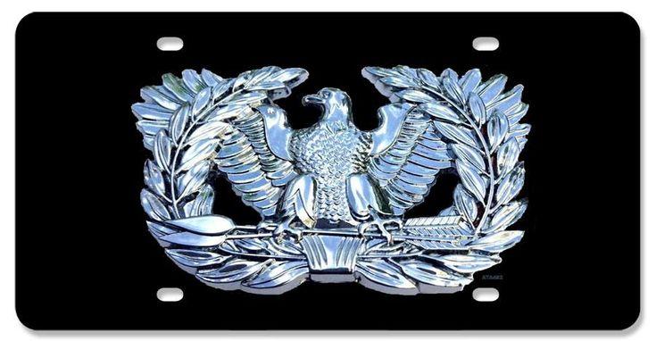Warrant Officer Eagle Rising Chrome On Black Background License Plate Warrant Officer Black Backgrounds License Plate
