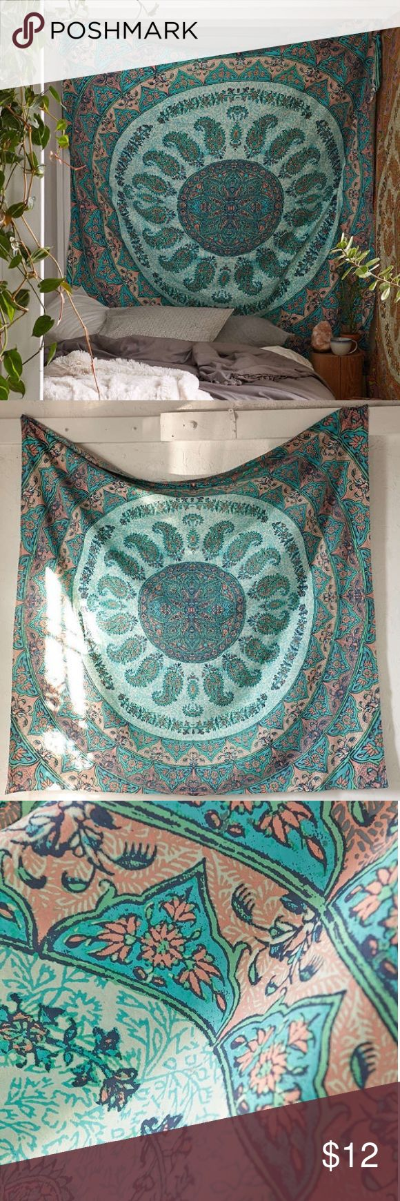 Urban Outfitters Tapestry A square teal and coral tapestry made of cotton. Urban Outfitters Other
