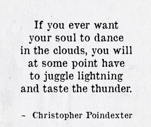 If you ever want your soul to dance in the clouds, you will at some point have to jiggle lightning and taste the thunder.