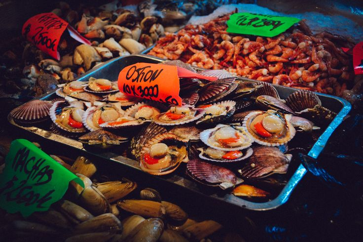 Scallops being sold in the Central Market (Mercado Central), Chile. http://www.raices.co.uk