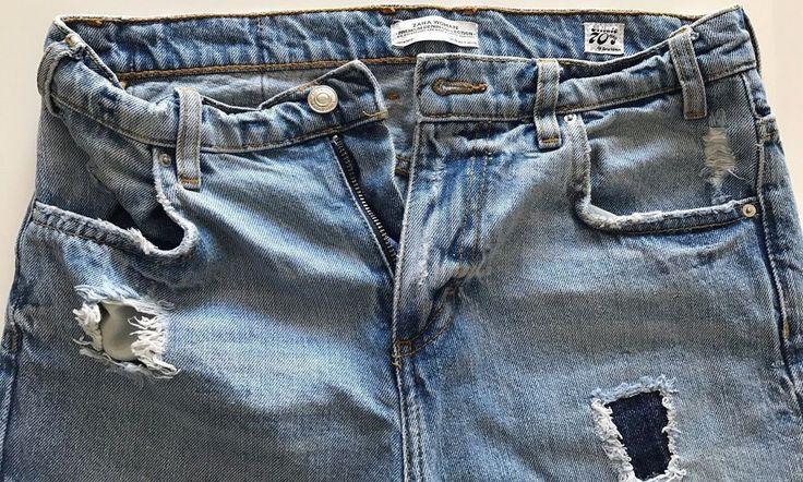 Zara Jeans Vintage Ripped Women High Waist Premium Denim 70s Tribute US 4 EUR 36 #Zara #FdlfonRippedBootCutFlare