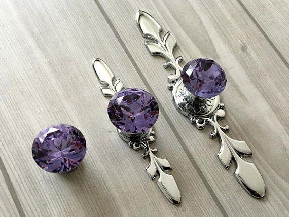 Purple Drawer Knobs Pulls Handles Glass Crystal Knob Dresser