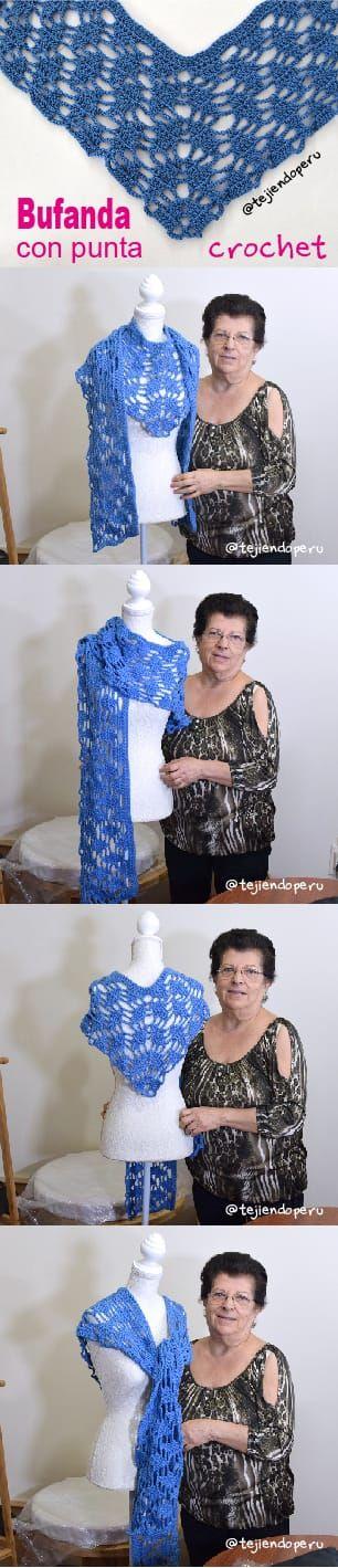 Bufanda con punta en forma de L tejida a crochet.  Paso a paso en video tutorial