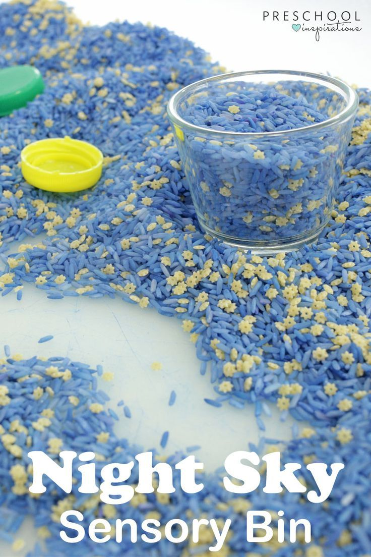 Night Sky Sensory Bin - so easy to make and very engaging for the kids! This is a perfect activity for a space theme.
