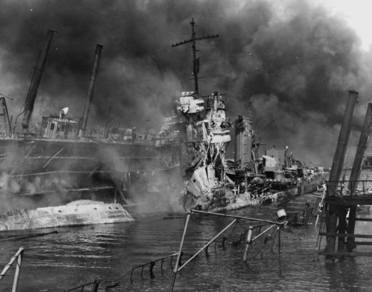 This picture is the Japanese attack on pearl harbour Hawaii