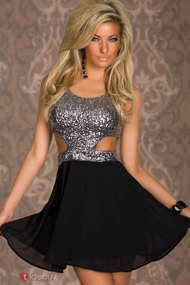 Silver Wonderful New Silver Sequin Cutout Top Skater Dress