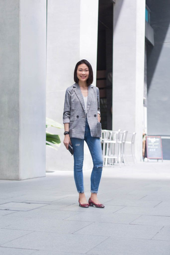 SHENTONISTA: Unscripted. Krystle, Personal Assistant. Jeans from ZARA, Blazer from Love Bonito, Top from Topshop, Shoes from Pazzion, Watch from Marc Jacobs, Bracelet from Balenciaga, Wallet from Yves Saint Laurent. #shentonista #theuniform #singapore #fashion #streetystyle #style #ootd #sgootd #ootdsg #wiwt #popular #people #male #female #womenswear #menswear #sgstyle #cbd #ZARA #LoveBonito #Topshop #Pazzion #MarcJacobs #Balenciaga #YvesSaintLaurent