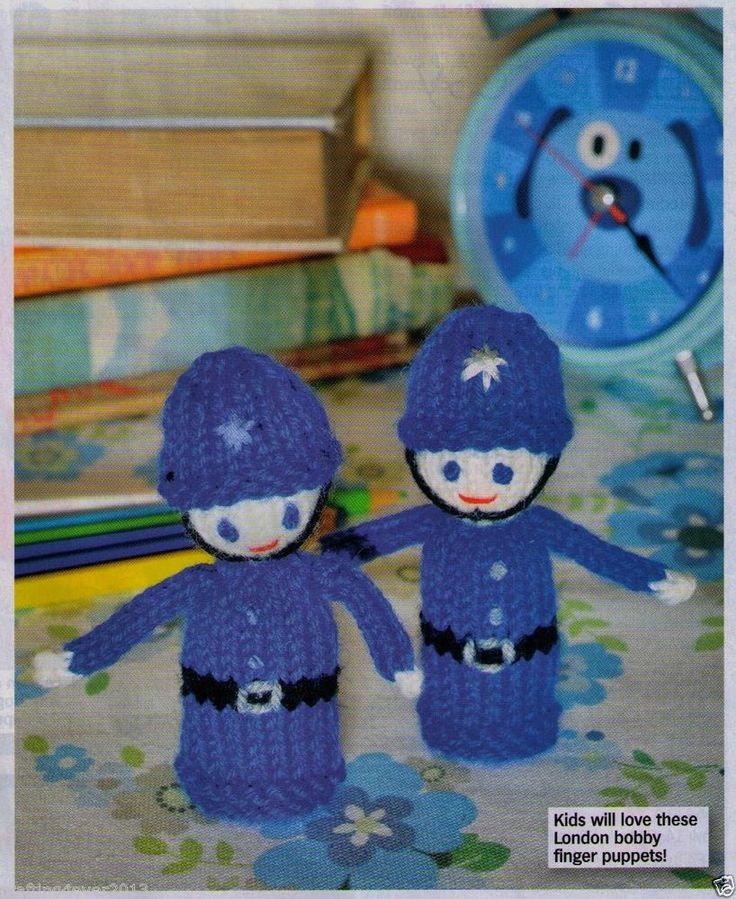 LONDON BRITISH BOBBY POLICEMAN FINGERPUPPETS TOYS- 10 CMS- 8PLY KNITTING PATTERN