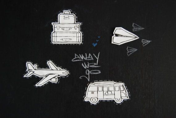 Decal / Sticker Set TRAVEL  hand-drawn by WAIQ on Etsy