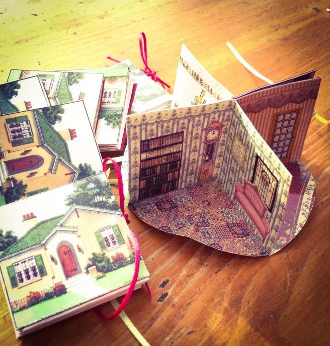 Miniature folding dollhouse book