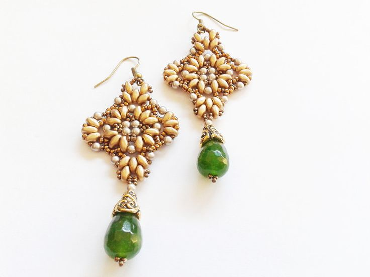 Orecchini pendenti - orecchini goccia agata verde - un prodotto unico di tizianat su DaWanda