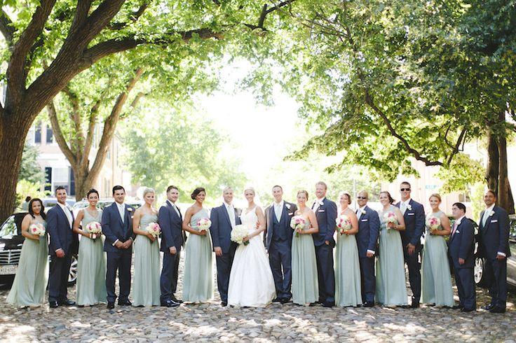 Sage and Navy Wedding Colors! #sage #navy #wedding #bridesmaiddress #weddingparty