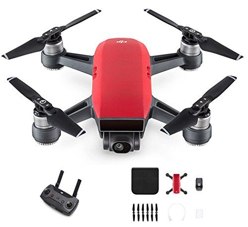 DJI Spark Red Remote Control Combo Includes Remote controller and standard Spark accessory kit. ( battery, Propellers and charger),