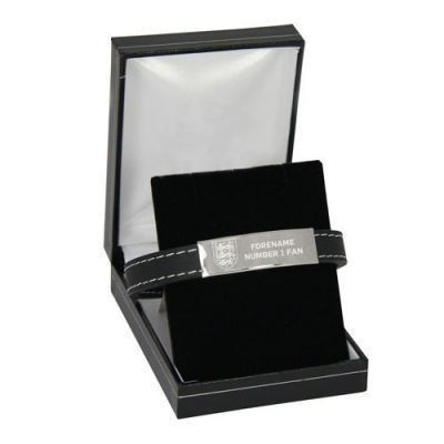Personalised England Crest Steel & Rubber Bracelet #England #FootballGifts #SportsGifts £49.95